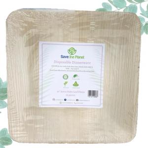 Disposabl Plates Areca Palm Leaf square Plates 10 size Save The Planet