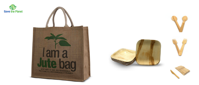 disposable products - eco friendly products - jute bag - disposable plates - disposable cutlery - save the planet