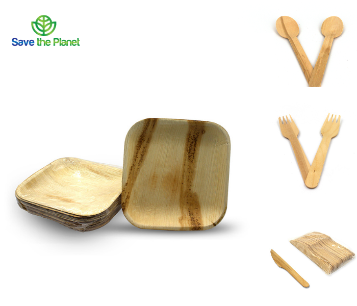 eco friendly disposable plates - disposable spoon - disposable fork  disposable knife - disposable cutlery - disposable dinnerware - save the planet- disposable products