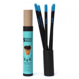 Plantable Premium Seed Pencils – 5pcs Black and Blue Plantable Pencils Save The Planet Ecofriendly Stationery
