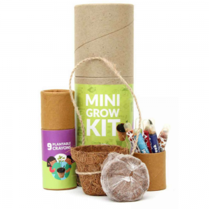 Mini Grow Kit - 9 Plantable Crayons + 1 Coconut Husk Mini Planter + 1 Cocopeat Disk save the planet Ecofriendly stationery