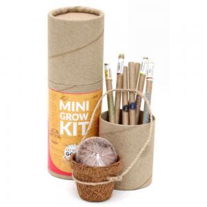 Mini Grow Kit - 4pcs Recycled Paper Seed Pens + 3pcs Recycled Paper Pens + 1 Coconut Husk Mini Planter + 1 Cocopeat Disk