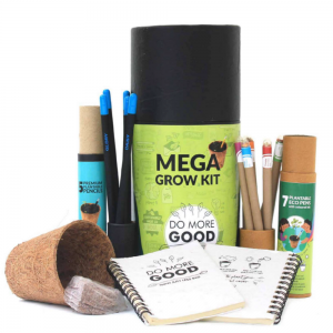 Mega Grow Kit Premium - 5 Premium Seed Pencils + 7 Colored Ink Eco Seed Pens + 2 Mini Plantable Notepads + 1 Coconut Husk Planter + 1 Cocopeat Disk