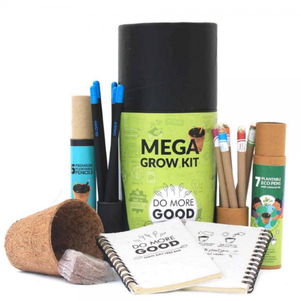 Mega Grow Kit Premium - 5 Premium Seed Pencils + 7 Colored Ink Eco Seed Pens + 2 Mini Plantable Notepads + 1 Coconut Husk Planter + 1 Cocopeat Disk
