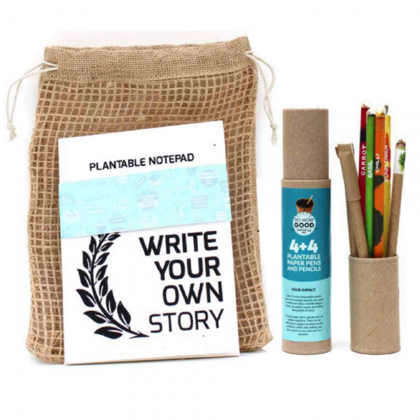 Plantable Stationery A5 size kits - 4 Paper Seed Pens + 4 Seed Pencils + 1 Plantable Notepad Save The Planet