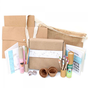 Mega Jute Kit - A4 Sized Jute Sling Bag+ 5pcs Plantable Pencils+ 7pcs Colored Ink Eco Seed Pens+ 2 Plantable Notepads+ 2 Mini Coconut Husk Planter+ 2Mini Cocopeat Disks+ A4 Kraft File and Pouch Ecofriendly stationery save the planet dubai