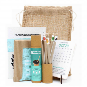Calendar Jute Kit - Plantable Calendar with MDF Stand + 5 Paper Seed Pens + 1 Plantable Notepad Save The Planet