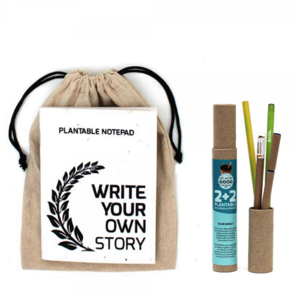 Plantable Stationery A5 size kits – 2 Eco Seed Pens + 2 Seed Pencils + 1 Plantable Notepad Save The Planet