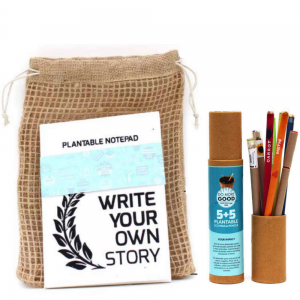 Plantable Stationery A5 size kits – 5 Eco Seed Pens + 5 Seed Pencils + 1 Plantable Notepad Save The Planet