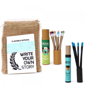 Plantable Stationery A5 size kits – 7 Eco Seed Colored Ink Pens + 5 Premium Seed Pencils + 1 Plantable Notepad Save The Planet