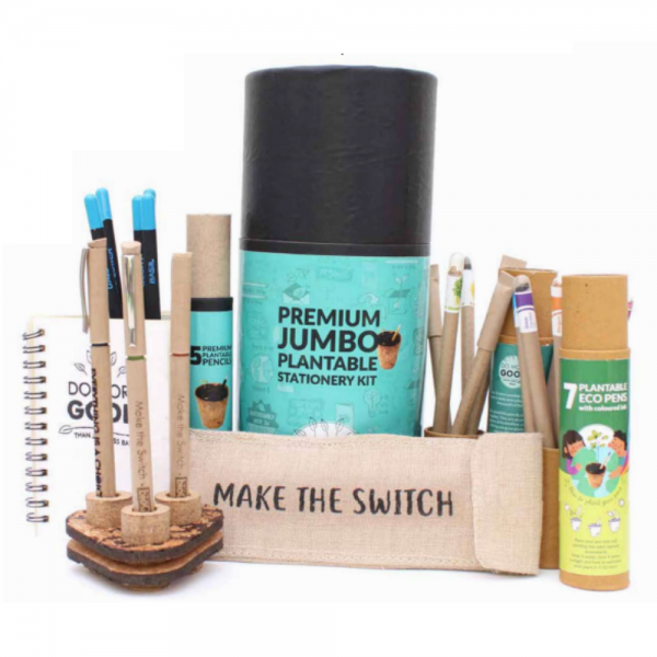Premium Jumbo Kit - 7 Coloured Ink Eco Seed Pens + 3 Premium Recycled Paper Pens with Metal Clip + 5 Premium Plantable Pencils + 1 Plantable Mini Notepad + 5 Paper Seed Pens + Cork Pen Stand