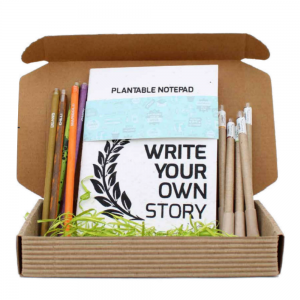 Stationery Box - 1 Plantable Notepad + 5 Paper Seed Pens + 5 Plantable Pencils